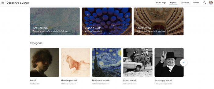 Google Arts & Culture homepage